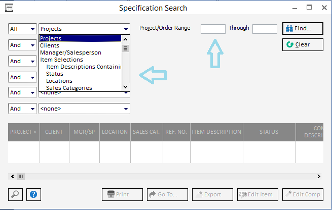 Using the Specification Search1